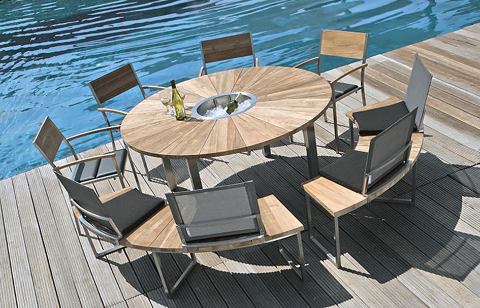 tisch onyx 160 cm rund 7214 edelstahl platte recyceltem teakholz gartenm bel gartenm bel. Black Bedroom Furniture Sets. Home Design Ideas