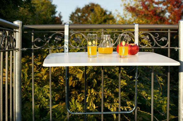 Balkonklapptisch weiss  Balkonklapptisch 60x80 cm in weiss, Werzalitplatte (Gartenmöbel ...