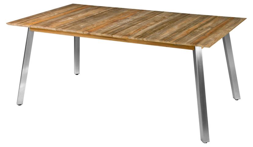 Zebra Tisch Linax recyceltes Teak und Edelstahl - Gartenmöbel Jendrass