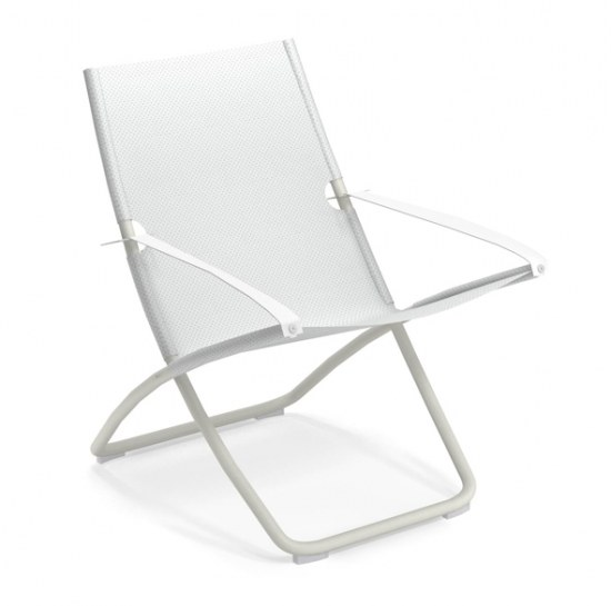 Liegestuhl Snooze in weiss 4x4 - Bezug weiss Stahl/ 100% Polychlorid Emutex