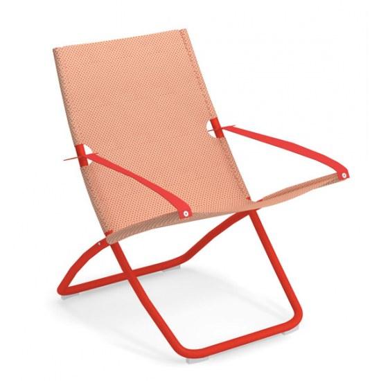 Liegestuhl Snooze in rot - Bezug orange Stahl/ 100% Polychlorid Emutex