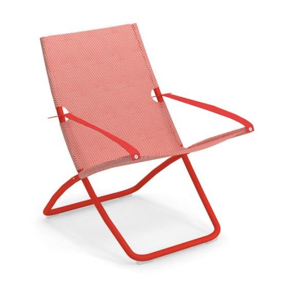 Liegestuhl Snooze in rot - Bezug rot/beige Stahl/100% Polychlorid Emutex