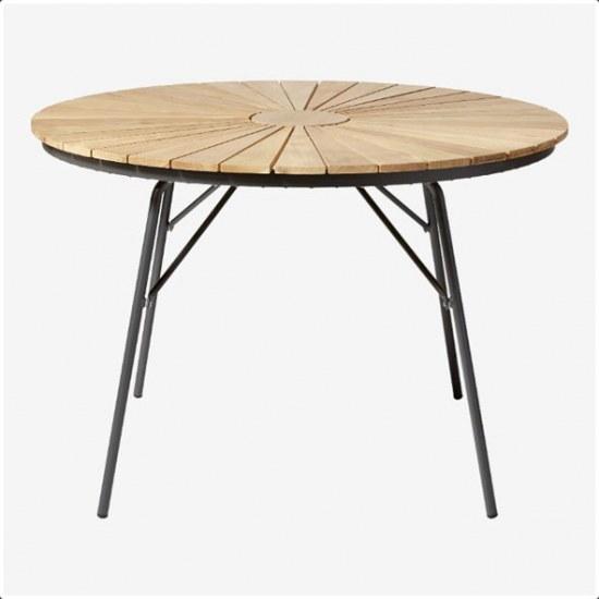 MWH Gartentisch Ellen 110 cm rund - Aluminium anthrazit mit Teaklatten