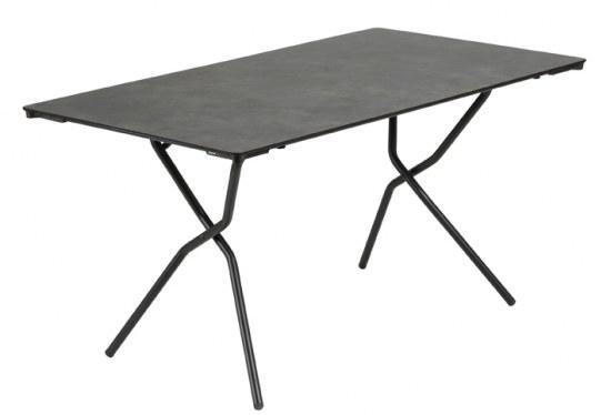 Lafuma Gartentisch Anytime 139x79 cm Farbe schwarz / mineral Stahlgestell mit HPL Platte