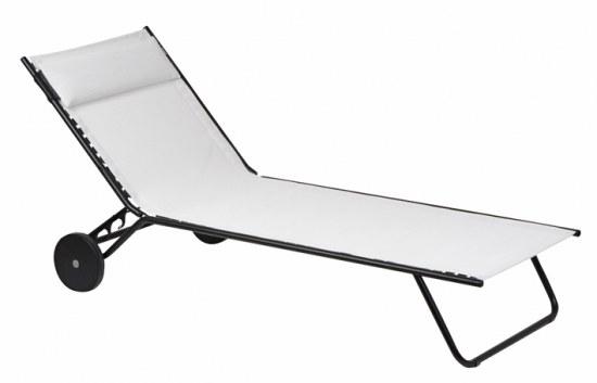 Lafuma Zweibein Sonnenliege Miami Farbton ecume Stahl/ Bezug 72% PVC, 28% Polyester