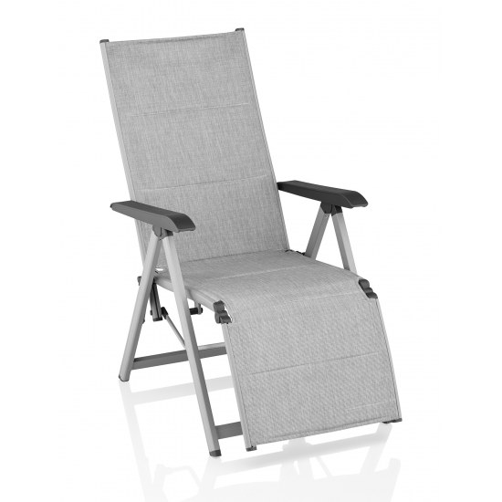 Kettler Relaxliege Basic Plus padded silber/hellgrau, Alu70%PVC/30%PES
