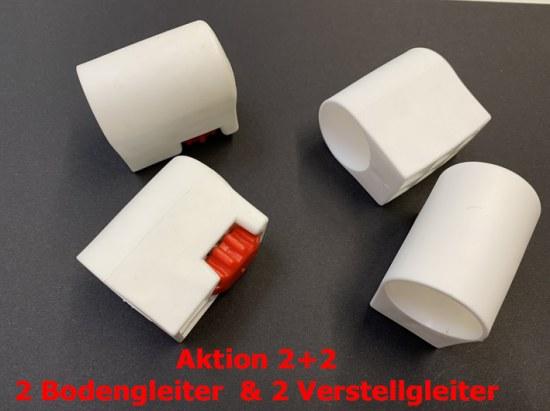 MWH Aktion Bodengleiterset 32 mm weiss (2 Bodengleiter + 2 Verstellgleiter)