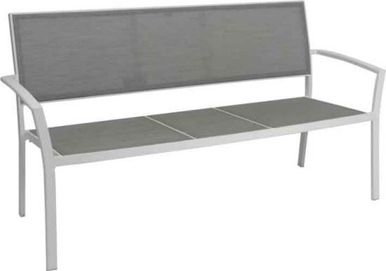 Stern Gartenbank Allround 2,5 sitzer - Aluminium weiss Bezug silber