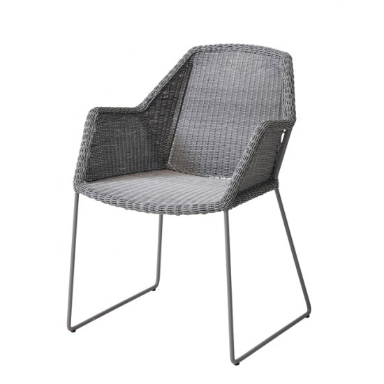 Cane Line Sessel Breeze in light grey Stahlrohrgestell beschichtet mit Polyrattan