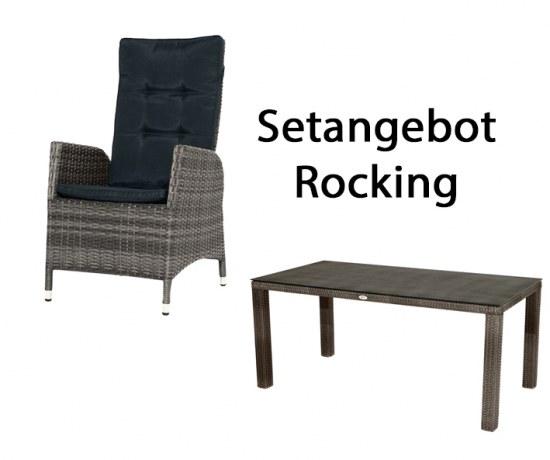 Ploß Gartenmöbelset 4 Sessel + Tisch 170x90 cm - Alu mit Polyrattan