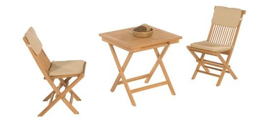 Müsing Gartenmöbelset Bristol aus Teakholz, bestehend aus 2 Stühlen und 1 Tisch