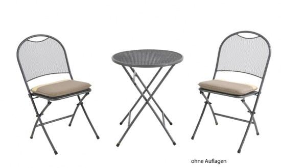 Obi Gartenmobel Ratan : Cafe Latte Set  2 Sessel und Tisch 60 cm im Farbton eisengrau, Stahl