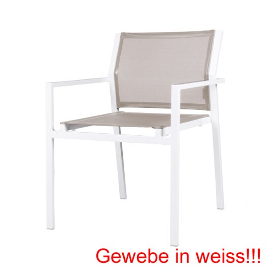 stapelsessel allux aus aluminium f r den garten in weiss. Black Bedroom Furniture Sets. Home Design Ideas