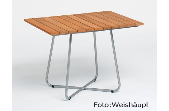 Gartentisch Balkony 100x70 cm , Edelstahl/Teak