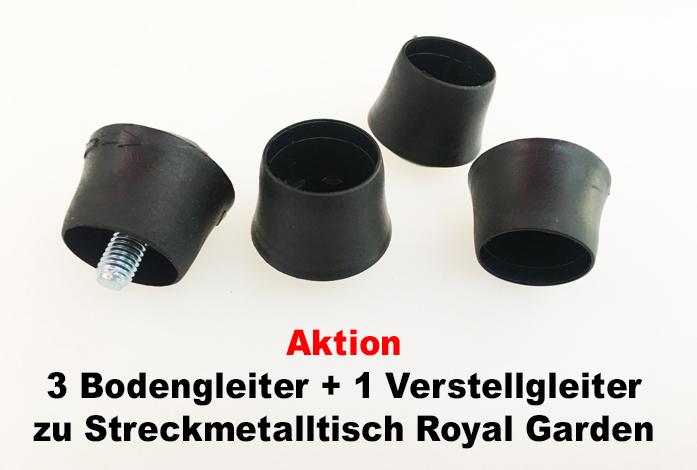 Bodengleiterset für Streckmetalltisch Royal Garden 25mm ...