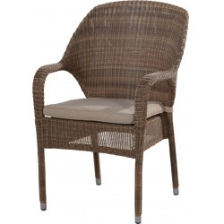 Stapelsessel Sussex in Farbe taupe Alu/Polyrattan inkl. Auflage 100% Polypropylen